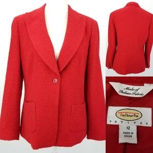 Talbots Italian Wool Stretch Blend Lined Blazer 12